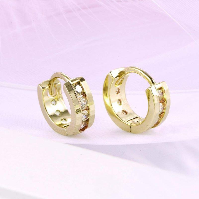 18K Gold Filled Classic Round Pave Huggie Earrings with Swarovski Crystals-Daily Steals