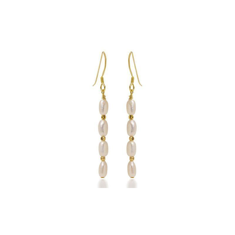 18K Gold Over Sterling Silver Freshwater Pearl Hanging Earrings-