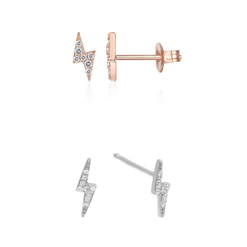 18K Gold Plated Lightening Stud Earrings Adorned with Crystals-Daily Steals