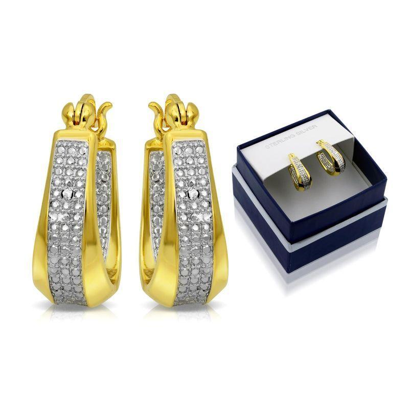 18K Gold Two Tone Classic Diamond Cut Hoop Earrings with Gift Box-