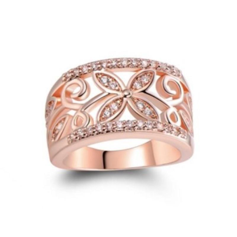 18K Rose Gold Ring with Preciosa Crystals-6-