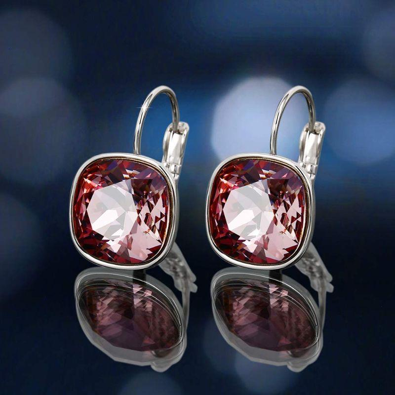 18K White Gold Filled Pink Topaz Leverback Earrings with Swarovski Crystals-Daily Steals