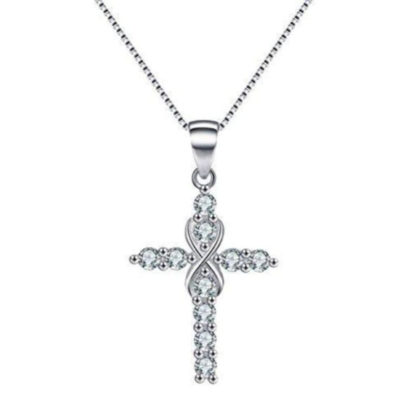 18K White Gold Plated CZ Infinity Cross Pendant Necklace-Infinity Loop-