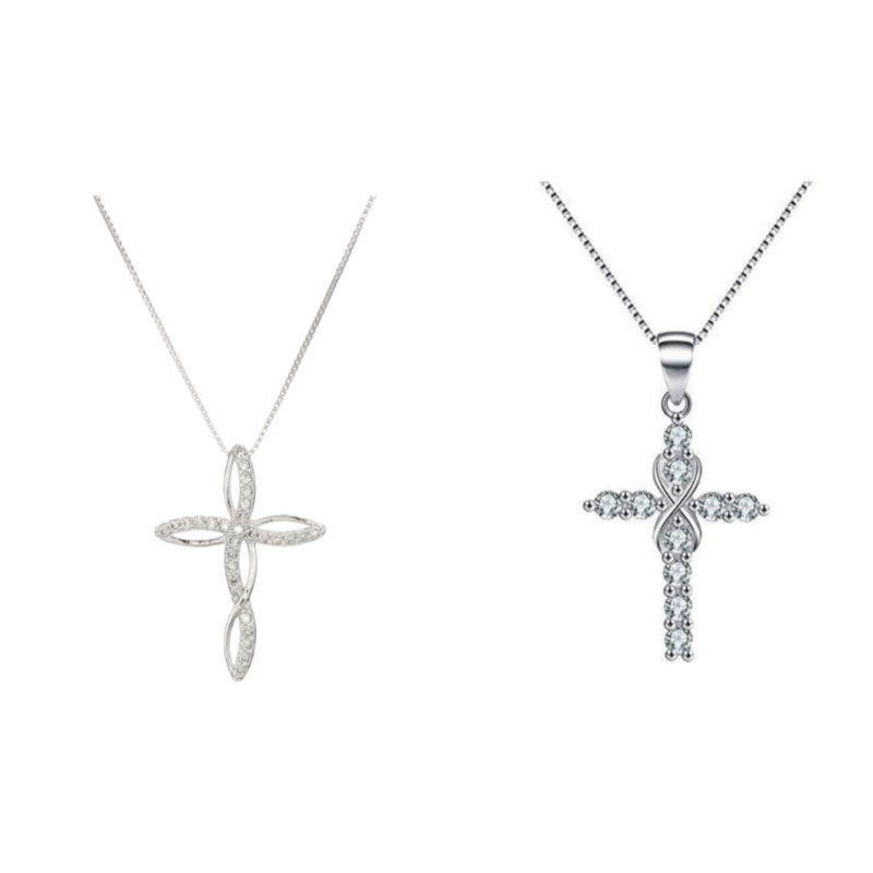 18K White Gold Plated CZ Infinity Cross Pendant Necklace-InfinityTwisted-