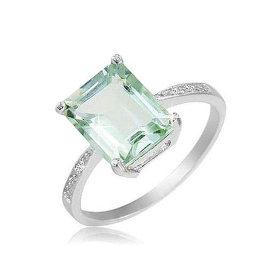 18K White Gold Plated Emerald Cut Ring-Green Amethyst Emerald-Cut Stone-8-