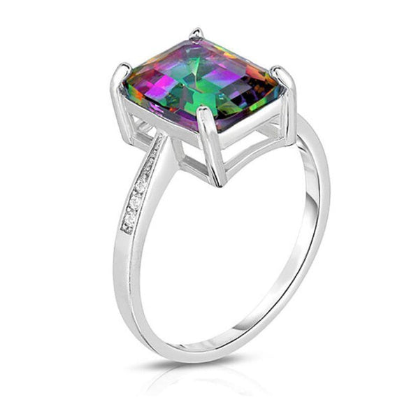 18K White Gold Plated Emerald Cut Ring-Mystic Topaz Emerald-Cut Stone-6-