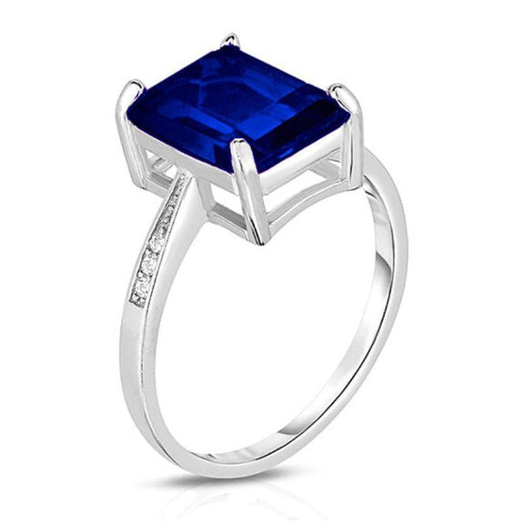 18K White Gold Plated Emerald Cut Ring-Blue Sapphire Emerald-Cut Stone-6-