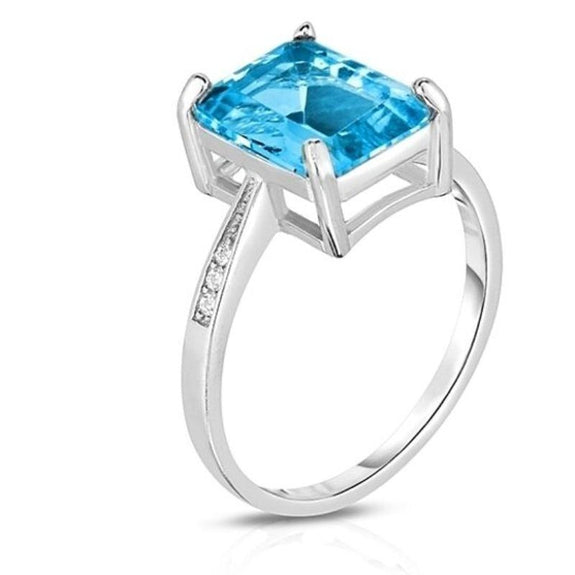 18K White Gold Plated Emerald Cut Ring-Blue Topaz Emerald-Cut Stone-8-