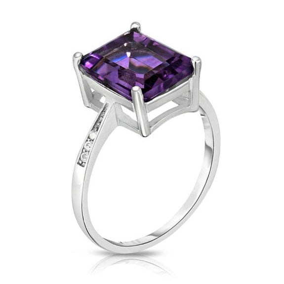 18K White Gold Plated Emerald Cut Ring-Purple Amethyst Emerald-Cut Stone-7-