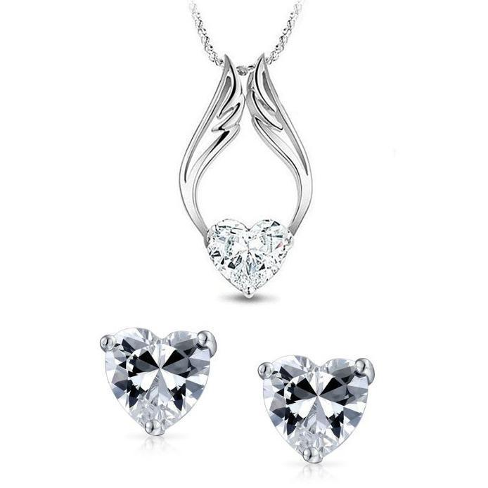 18K White Gold Plated Swarovski Crystal Guardian Angel Heart Necklace and Earrings-Daily Steals