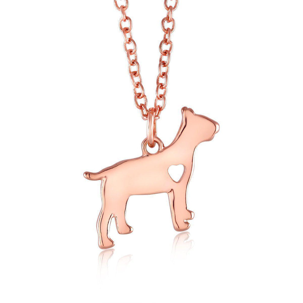 18kt Heart Dog Drop Necklace-