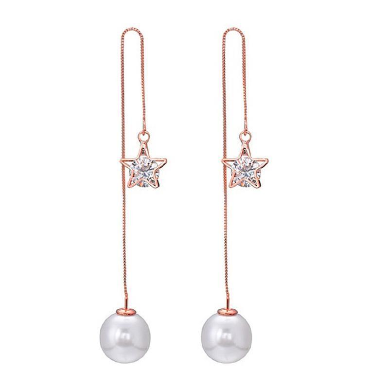 Daily Steals-18kt Rose Gold Plated Pearl Cubic Zirconia Drop Earrings-Jewelry-