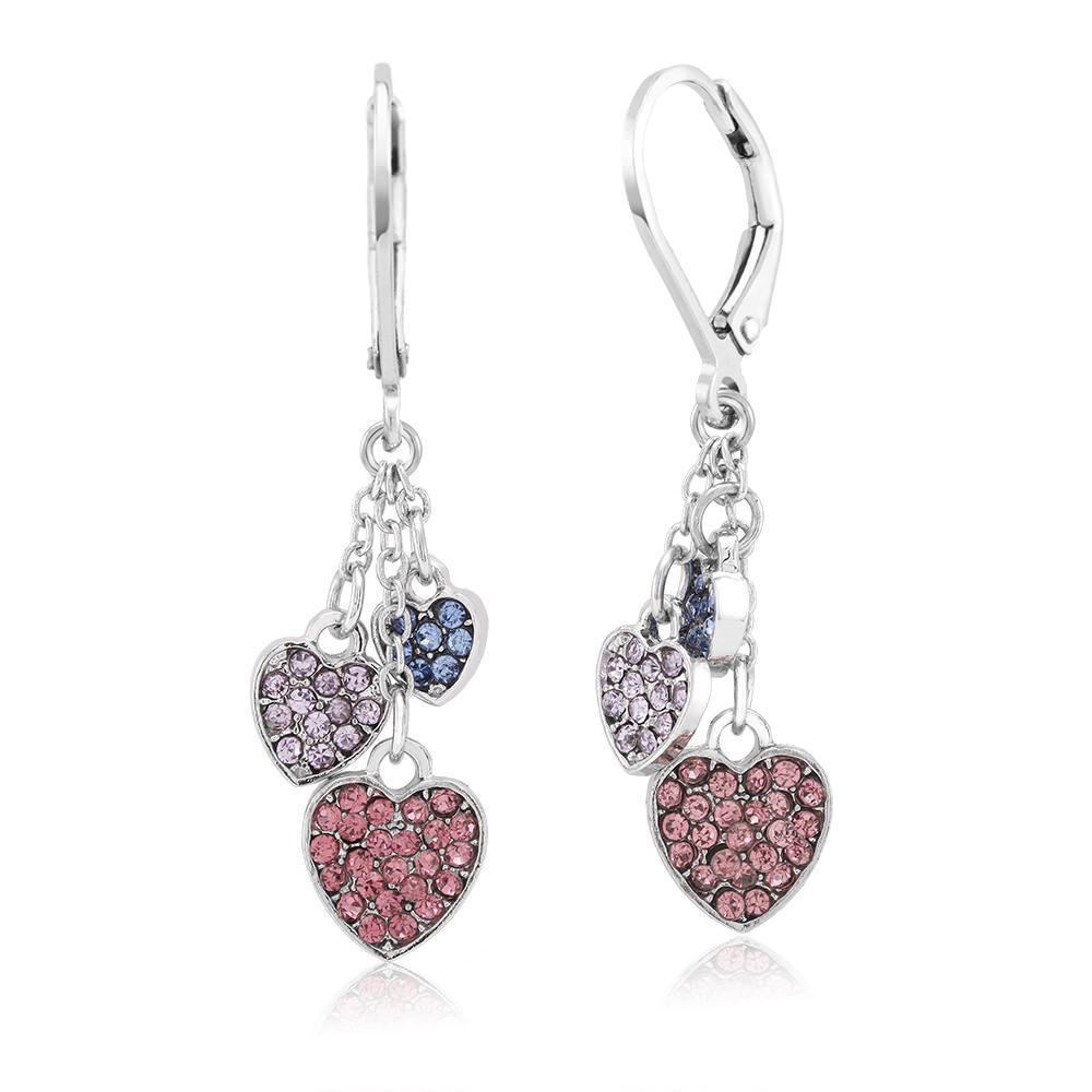 Daily Steals-18KT White Gold Plated Crystal Heart Earrings-Jewelry-