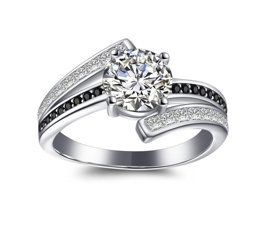 Daily Steals-18kt White Gold Plated Cubic Zirconia Black And White Rings-Jewelry-7-Large Round-