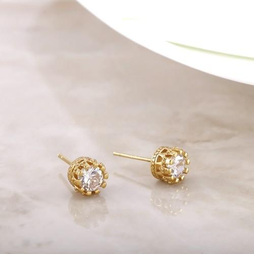 Daily Steals-18kt Yellow Gold Plated Cubic Zirconia Crown Stud Earrings-Jewelry-