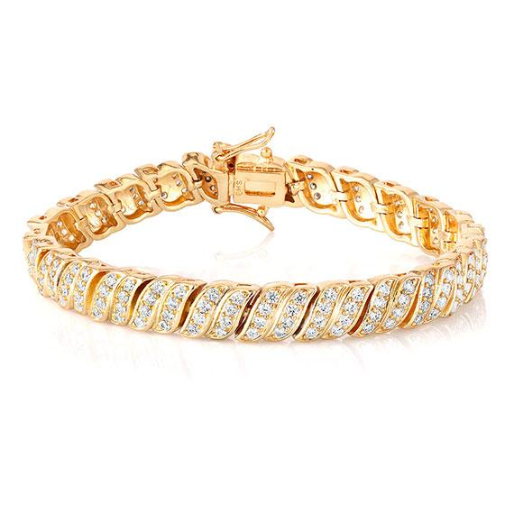 Daily Steals-18kt Yellow Gold Plated Simulated Diamond Tennis Bracelet-Jewelry-