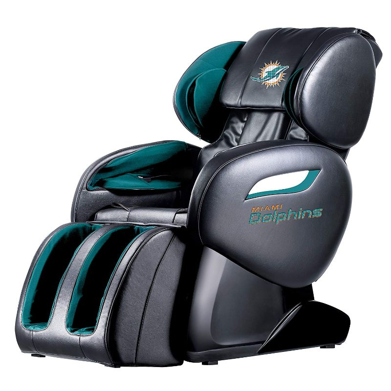 NFL Electric Full Body Shiatsu Massage Chair with Foot Roller-Miami Dolphins-Daily Steals