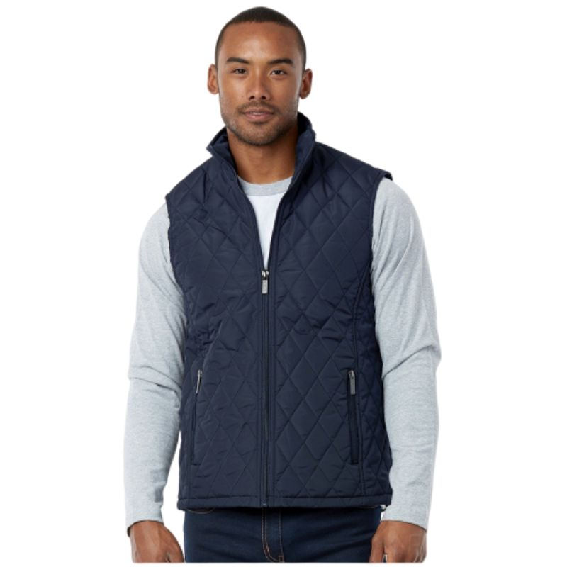 Men's Diamond Quilted Puffer Vest-Navy-M-Daily Steals