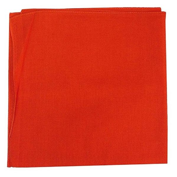 100% Cotton 18 Pack Bandana - 22 x 22-Solid Orange-Daily Steals