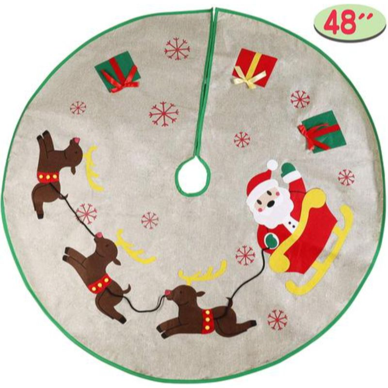 Burlap Rustic Christmas Tree Skirt Santa Sleigh or Snowman Tree