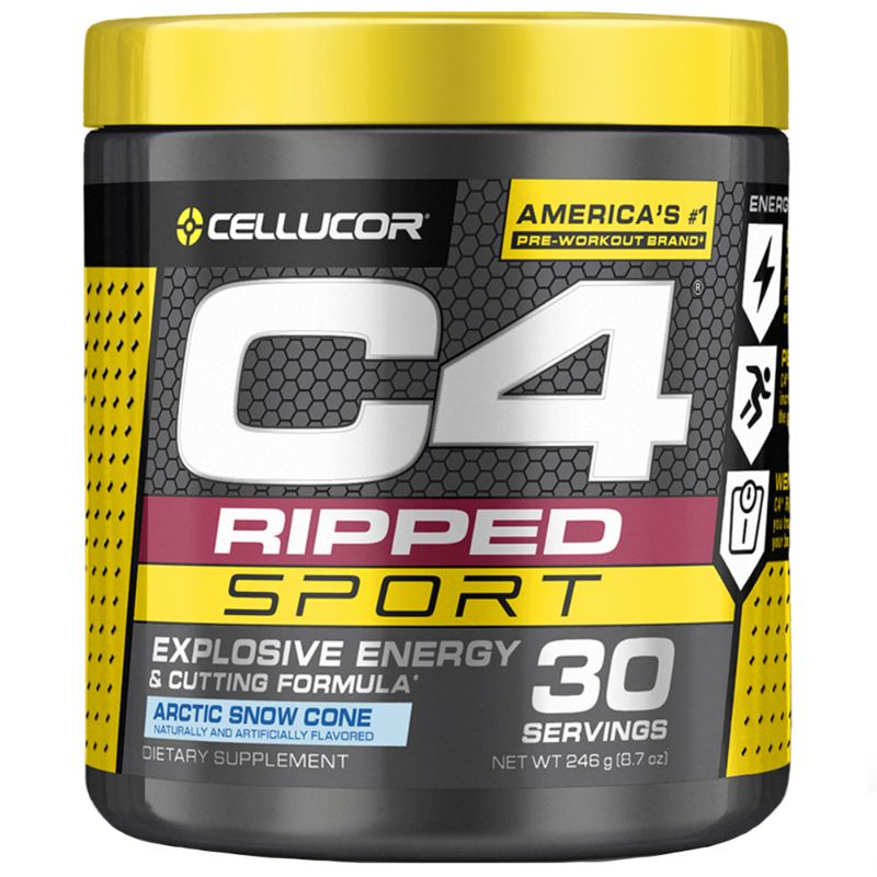 Cellucor C4 Ripped Pre-Workout Powder 8.7Oz, Arctic Snow Cone - 2 Pack-Daily Steals