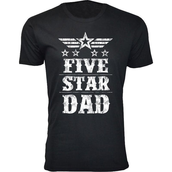 Men's Five Star Father's Day T-shirts-Dad - Black-S-Daily Steals