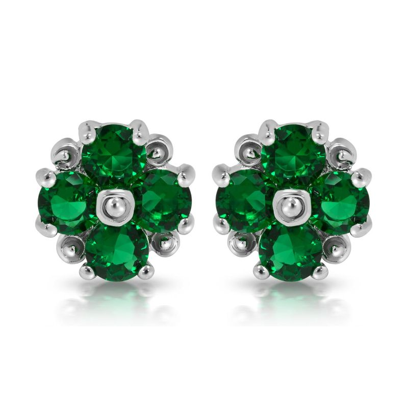 Created Emerald Floral Earrings with Gift Box-Daily Steals