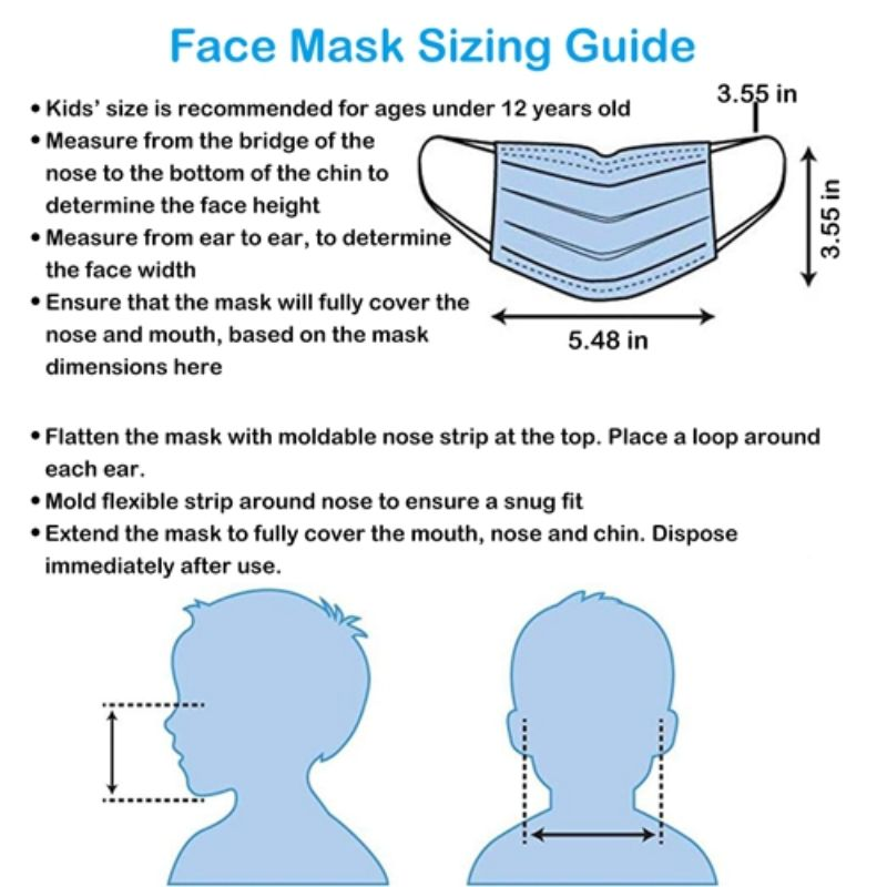 Children's Colored & Printed Face Mask, Disposable, 3Ply - 50 Pack