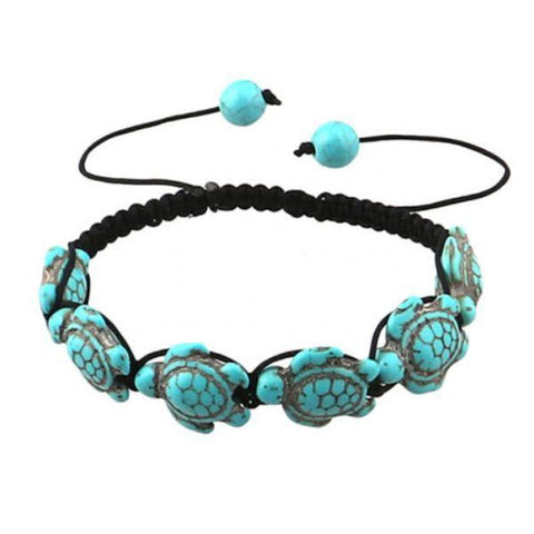 Genuine Handmade Adjustable Turquoise Hawaiian Sea Turtle Bracelet-Daily Steals