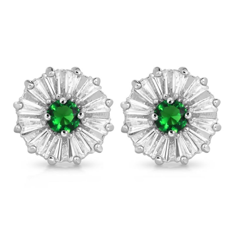 Lab-Created Emerald Flower Shape Stud Earrings-Daily Steals