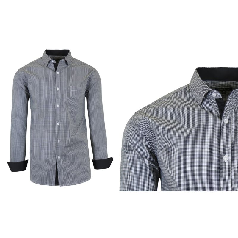 Mens Quick Dry Performance Stretch Dress Shirts-Black/Grey-Small-Daily Steals
