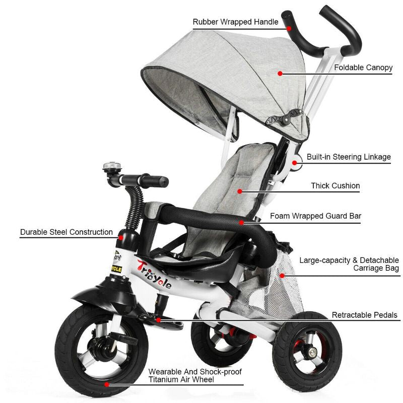 6-In-1 Kids Baby Stroller Tricycle Detachable Learn to Ride Bike