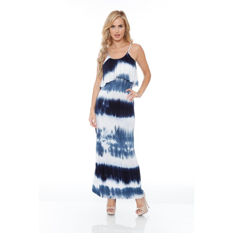 WhiteMark 'Kalea' Tie Dye Overlay Maxi Dress-Navy/White-S-Daily Steals