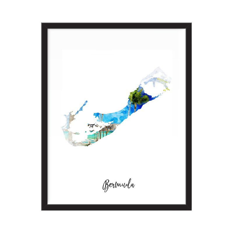 Bermuda Watercolor Map Print - Unframed Art Print-Daily Steals