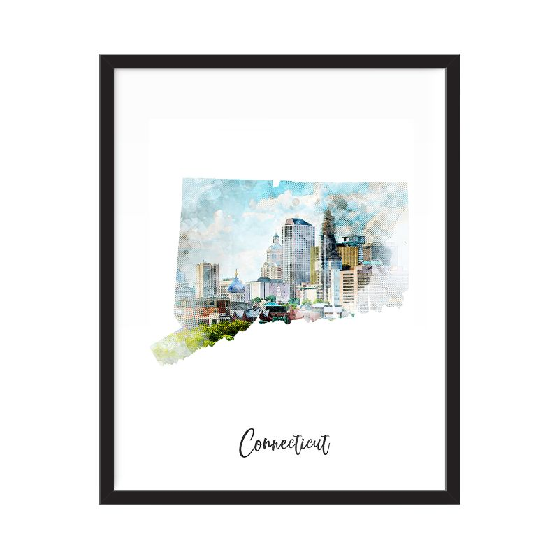 Connecticut Watercolor Map Print - Unframed Art Print-Daily Steals
