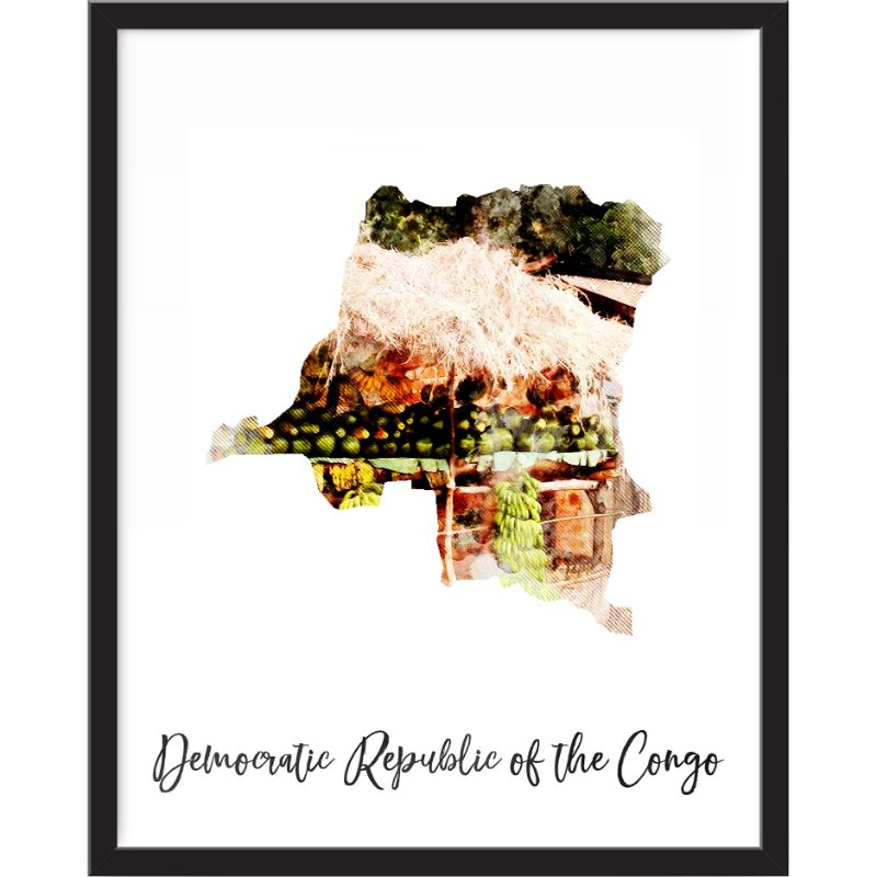 Democratic Republic Of The Congo Watercolor Map Print - Unframed Art Print-Daily Steals