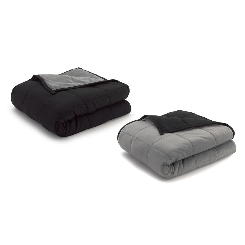 Ella Jayne Reversible Anti-Anxiety Weighted Microfiber Blanket-Grey/Black-15 lbs-Daily Steals