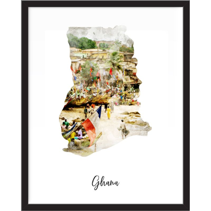 Ghana Watercolor Map Print - Unframed Art Print-Daily Steals