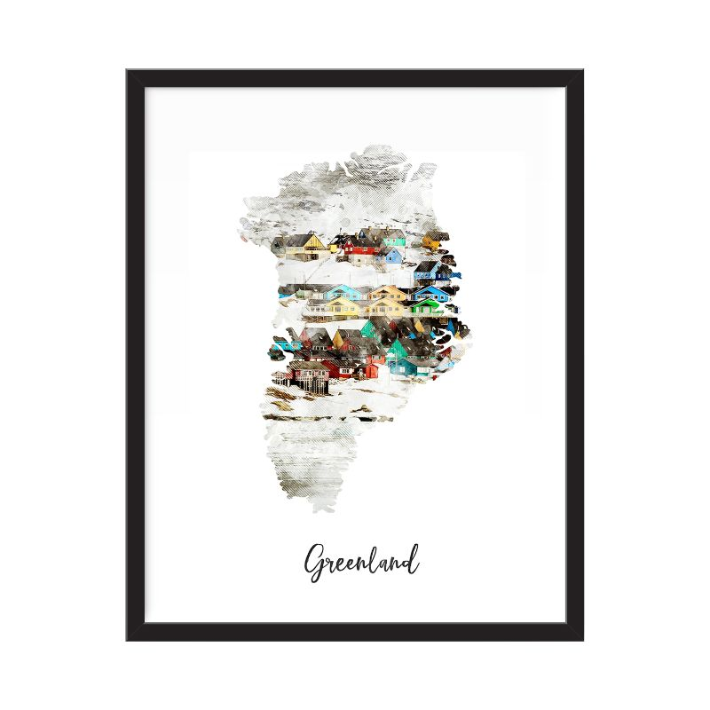 Greenland Watercolor Map Print - Unframed Art Print-Daily Steals