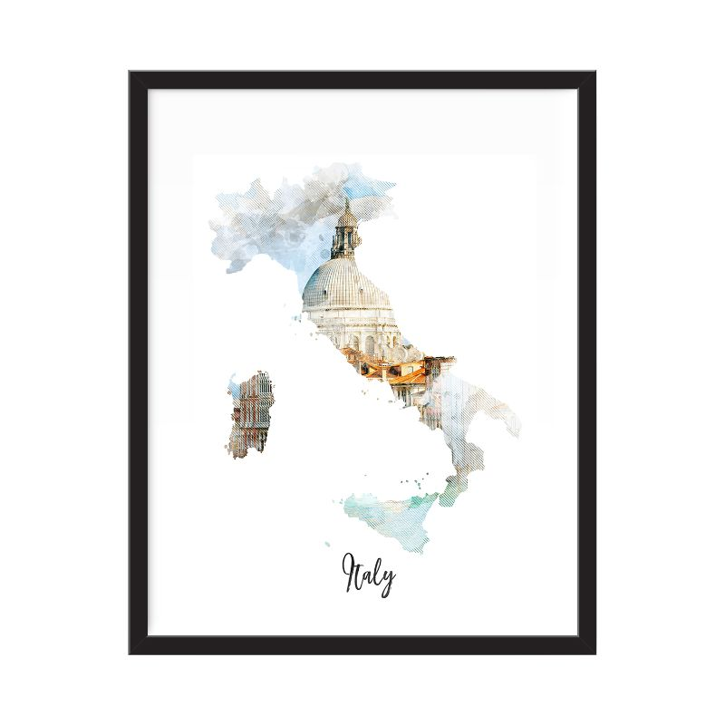 Italy Watercolor Map Print - Unframed Art Print-Daily Steals