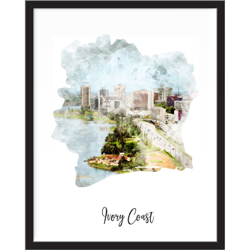 Ivory Watercolor Map Print - Unframed Art Print-Daily Steals