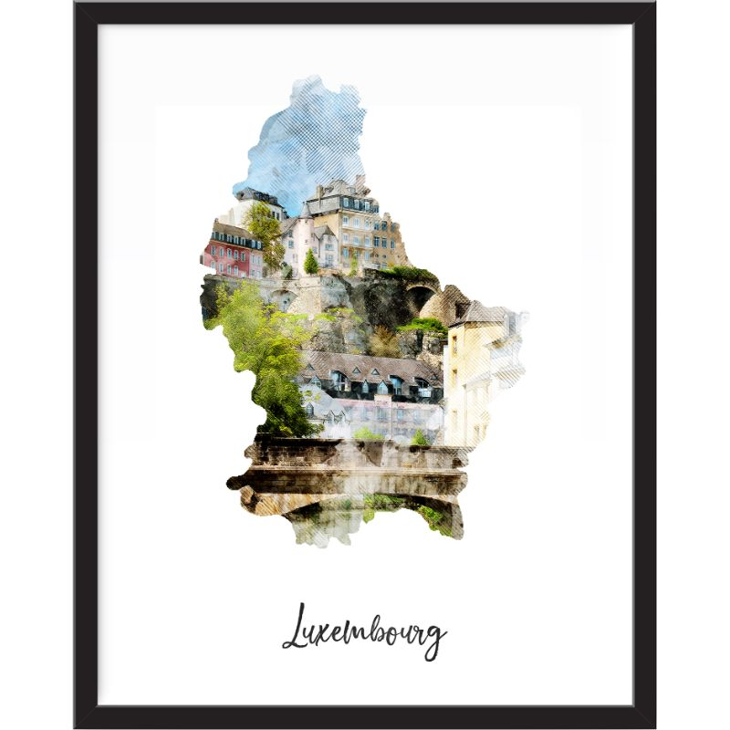 Luxembourg Watercolor Map Print - Unframed Art Print-Daily Steals