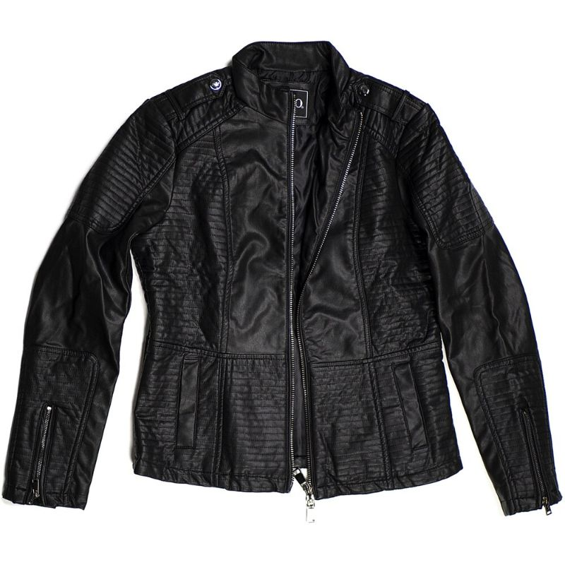 Women's Motorcycle Faux Leather Jacket Quilted Lining Zip Up-Black-S-Daily Steals