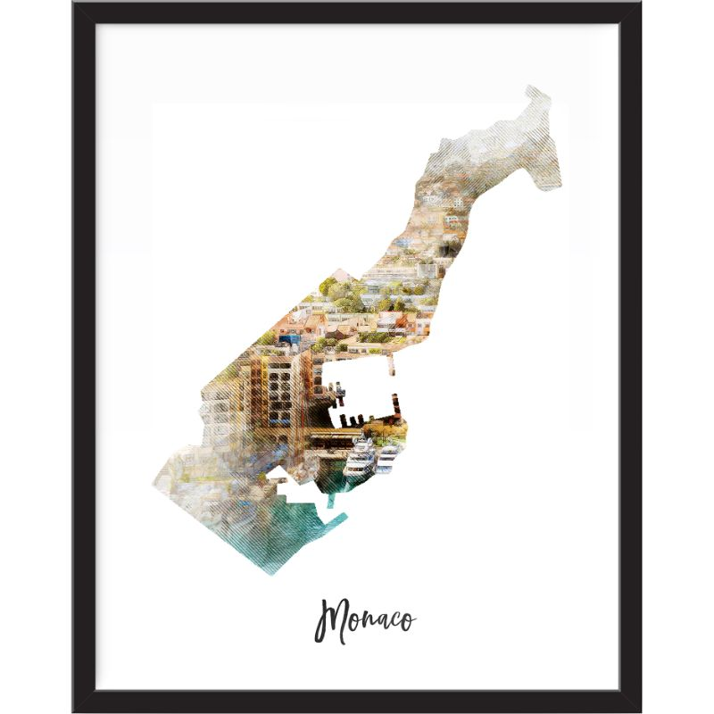 Monaco Watercolor Map Print - Unframed Art Print-Daily Steals