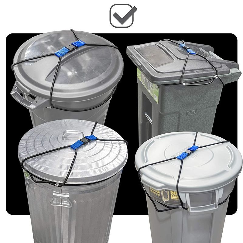 Encased Outdoor Trash Can Lid Lock for Animals, Bungee Cord Heavy Duty - 1 or 2 Pack