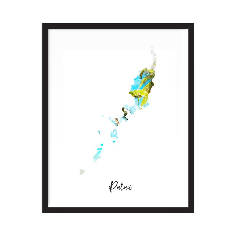 Palau Watercolor Map Print - Unframed Art Print