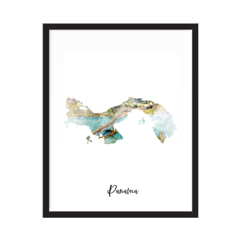 Panama Watercolor Map Print - Unframed Art Print-Daily Steals