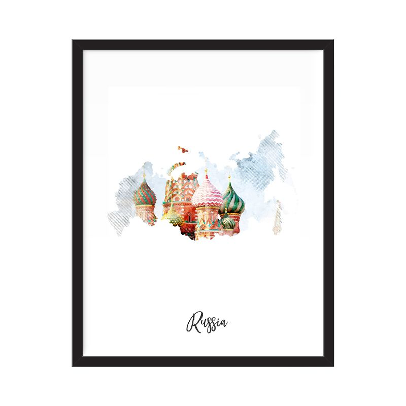 Russia Watercolor Map Print - Unframed Art Print