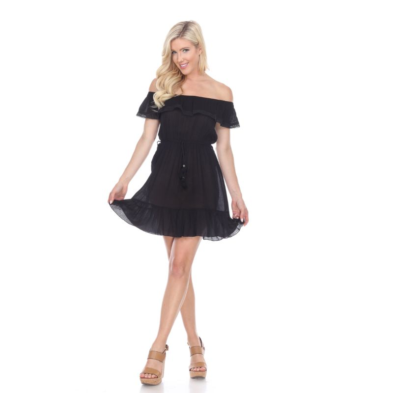 Smocked Off-The-Shoulder Dress-Black-S-Daily Steals