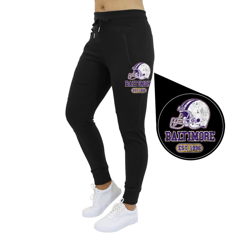 Women's Home Team Football Jogger Sweatpants-Baltimore - Black-S-Daily Steals